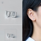 Creative spelling english alphabet u stud earring for women - silver