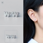 Creative spelling english alphabet w stud earring for women - silver