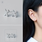 Creative spelling english alphabet x stud earring for women - silver