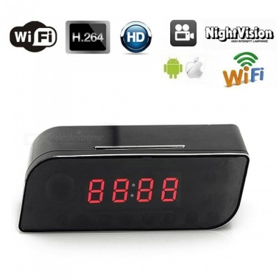720P HD Wireless Wi-Fi Clock Hidden IP Camera - Black (US Plugs)