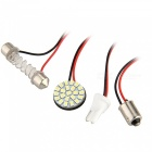 QooK Round Panel 22 3020 SMD LED + T10 + Festoon Dome + BA9S Bulb