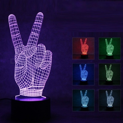 3D Stereo V Gestures LED Colorful Touch Night Light Gradient Lamp