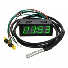"Eastor Car Time / Voltage / Temperature Meter w/ 2"" Green LED Display"