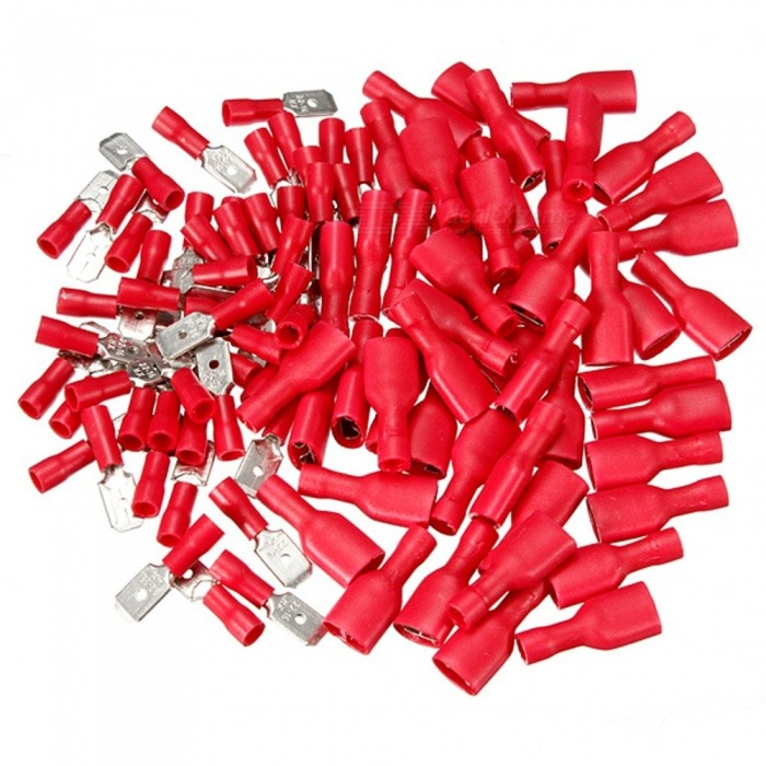 QooK Insulated Wire Cable Connector Terminal Male / Female Kit - RedOther Gadgets<br>Form  ColorRedModelI678BQuantity1 DX.PCM.Model.AttributeModel.UnitMaterialPC + alloyShade Of ColorRedPacking List1 x Pack of 100 Semi Insulated Spade Connectors (50 Male and 50 Female)<br>