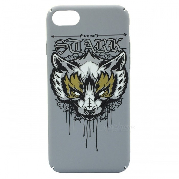 Wolf Head Pattern Matte PC caso trasero para IPHONE 7 PLUS - Blanco grisáceo