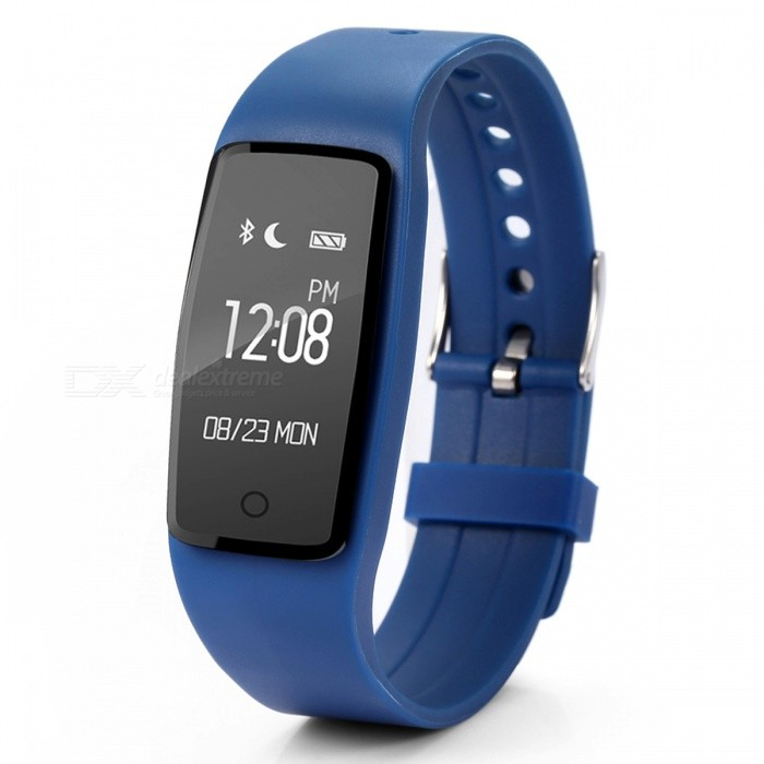 S1 Waterproof IP67 Silicone Heart Rate Smart Wristband - Deep Blue