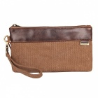 KAUKKO Canvas Stitching Men's Women's Wallet Handbag - Dark Khaki