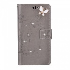 BLCR Butterfly Drill Encrusted PU Wallet Case for IPHONE SE/5S/5- Grey