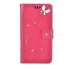BLCR Butterfly Drill Encrusted PU Case for IPHONE SE/5S/5 - Rose Red
