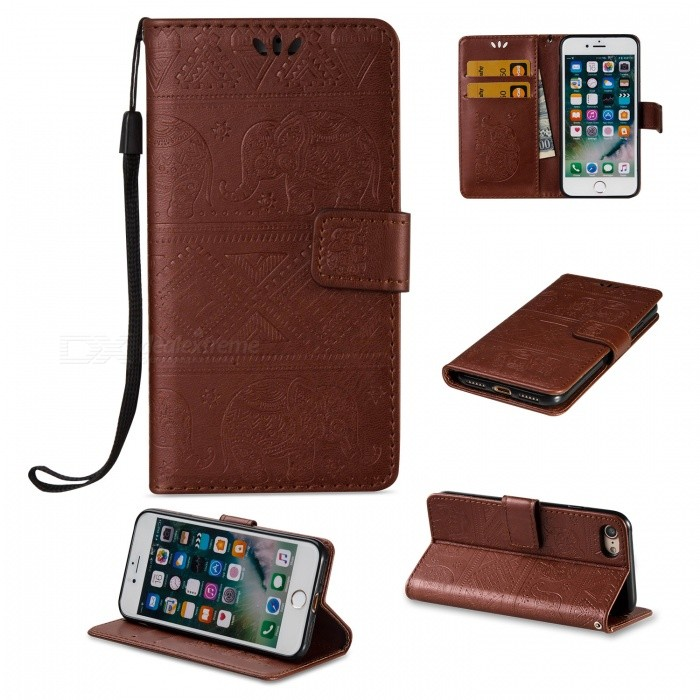 BLCR Elephant Pattern PU + TPU Wallet Case for IPHONE 7 - BrownLeather Cases<br>Form ColorBrownQuantity1 pieceMaterialPU + TPUCompatible ModelsiPhone 7StyleFlip OpenDesignWith Stand,Card Slot,With StrapPacking List1 x Case1 x Strap<br>