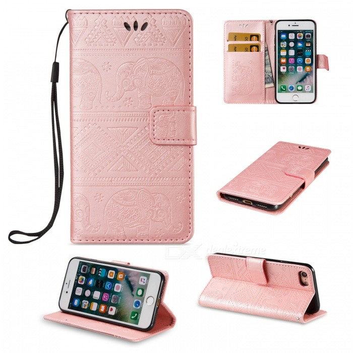 BLCR Elephant Pattern PU + TPU Wallet Case for IPHONE 7 - Rose GoldenLeather Cases<br>Form  ColorRose GoldQuantity1 DX.PCM.Model.AttributeModel.UnitMaterialPU + TPUCompatible ModelsiPhone 7StyleFlip OpenDesignWith Stand,Card Slot,With StrapPacking List1 x Case1 x Strap<br>