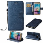 BLCR Elephant Pattern Wallet Case for Samsung Galaxy S6 Edge - Blue