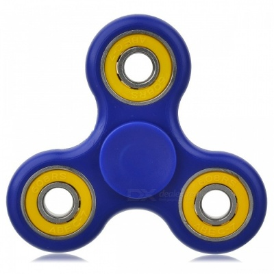 BLCR Tri-Spinner Fidget Toy EDC Hand Spinner for ADHD - Blue + Yellow