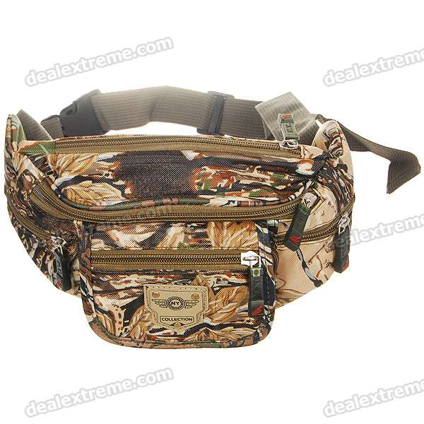 6-Pocket Camouflage Waist Bag stylish camouflage terylene waist bag