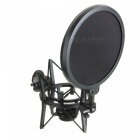 Miimall Professional Shock Mount w/ Pop Shield Filter Screen for Mic