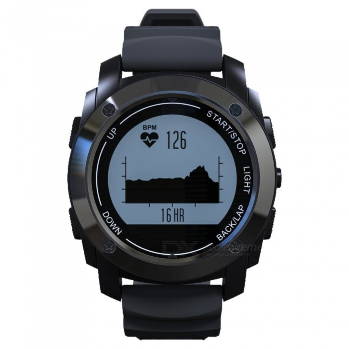 S928 GPS Tracker Bluetooth Sports Smart Watch Outdoor Band - BlackSmart Watches<br>Form  ColorBlackModelS928Quantity1 DX.PCM.Model.AttributeModel.UnitMaterialStainless steelShade Of ColorBlackCPU ProcessorMTK2502Screen Size1 DX.PCM.Model.AttributeModel.UnitScreen Resolution128*128 pixelTouch Screen TypeNoBluetooth VersionBluetooth V4.0Compatible OSIOS 8 and above, Android 4.3 and above.LanguageEnglish, French, German, Russian, Polish, Czech, Italian, Spanish, Portuguese, JapaneseWristband Length23 DX.PCM.Model.AttributeModel.UnitWater-proofIP66Battery ModeNon-removableBattery TypeLi-polymer batteryBattery Capacity380 DX.PCM.Model.AttributeModel.UnitStandby Time18 DX.PCM.Model.AttributeModel.UnitPacking List1 x Smart Watch1 x Charging Cable1 x Charging Base1 x Chinese and English User Manual<br>