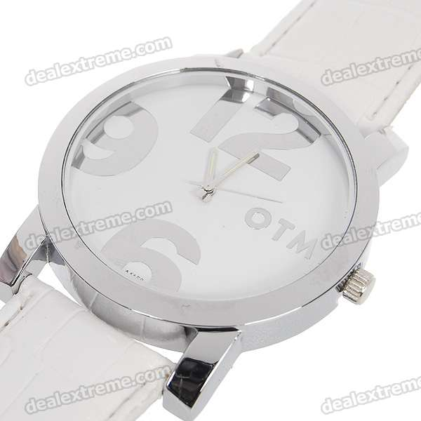Stylish PU Leather Band Quartz Wrist Watch - White + Silver (1*377) stylish bracelet band quartz wrist watch golden silver 1 x 377