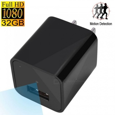 1080P HD USB Wall Charger Camera w/ 32GB Internal Memory - Black