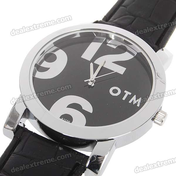 Stylish PU Leather Band Quartz Wrist Watch - Black + Silver (1*377) stylish bracelet band quartz wrist watch golden silver 1 x 377