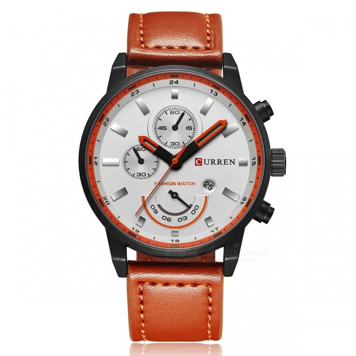 CURREN 8217 Mode Hommes Alloy Case Wrist Watch - Noir + Orange