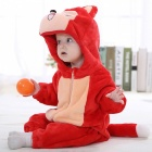 IDGIRL Fox Style Flannel Hooded Rompers for 0~3 Months Kids - Red