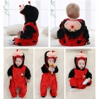 IDGIRL Flanelle Cartoon Animal Hooded Baby Girl Boy Romper- Noir + Rouge