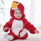 IDGIRL Bird Style Flannel Hooded Rompers for 0~3 Months Kids - Red