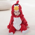 IDGIRL Bird Style Flannel Hooded Rompers for 19~24 Months Kids - Red