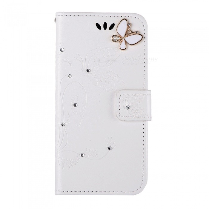 BLCR Butterfly Jewel Encrusted PU + TPU Case for IPHONE 7 - White