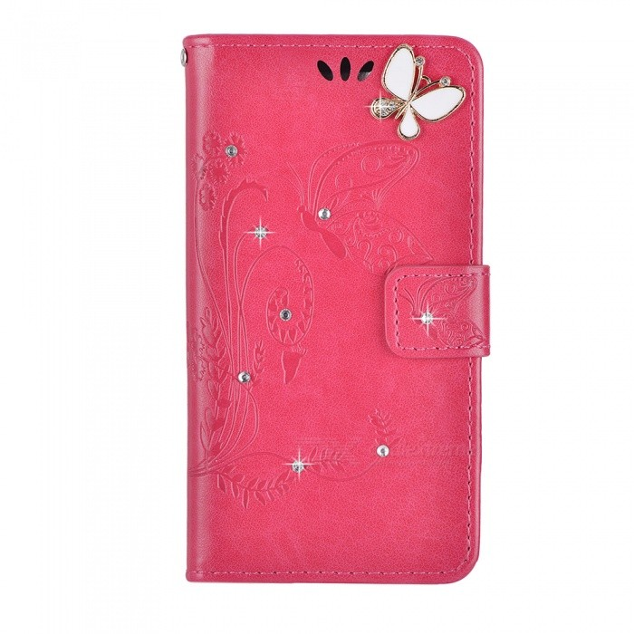 BLCR Butterfly Jewel Encrusted PU + TPU Case for IPHONE 7 - Rose Red