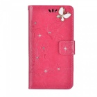 BLCR Butterfly Drill Encrusted PU + TPU Case for IPHONE 7 - Rose Red