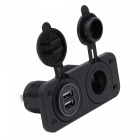 4.2A Dual USB Red Mobile Phone Car Charger w/ Cigarette Lighter- Black