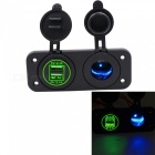 4.2A Dual USB Green Mobile Phone Car Charger w/ Cigarette Lighter