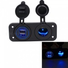 4.2A Dual USB Blue Light Mobile Phone Car Charger w/ Cigarette Lighter