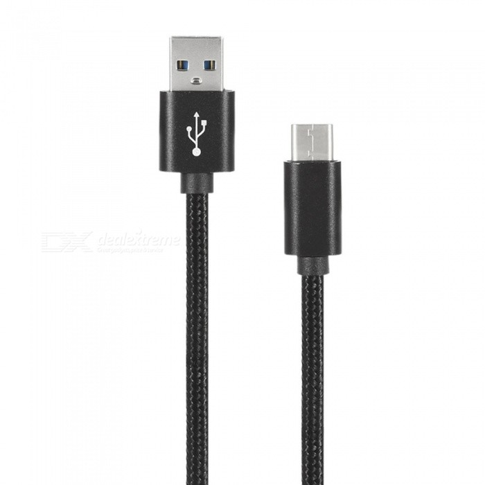 Nylon Braided USB 2.0 Type-C Transfer Charging Cable - Black (25cm)