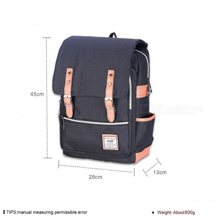 T008 2 College Style Canvas Students Backpack Black