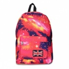 T006-3 Fashion Starry Sky Pattern Backpack - Red + Blue + Multicolor