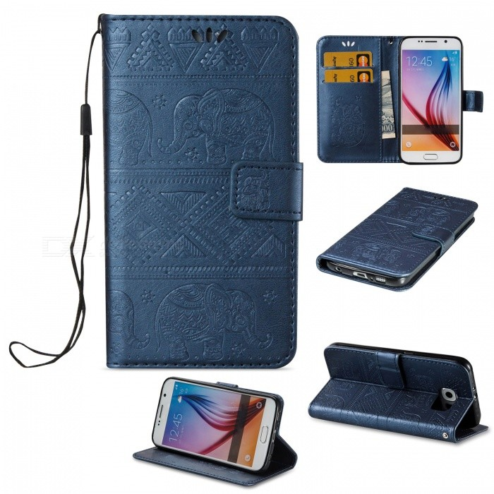 BLCR Elephant Pattern PU Case for Samsung Galaxy S6 - BlueLeather Cases<br>Form ColorSapphire BlueModelN/AMaterialPU + TPUQuantity1 pieceShade Of ColorBlueCompatible ModelsSamsung Galaxy S6FeaturesAnti-slip,Dust-proof,Shock-proof,Abrasion resistance,Easy-to-remove,Holder functionPacking List1 x Case1 x Strap<br>