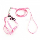 Adjustable Nylon Embroidery Printed Harness Lead Leash for Pets - Pink