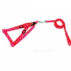 Adjustable Nylon Embroidery Printed Harness Lead Leash for Pets - Red