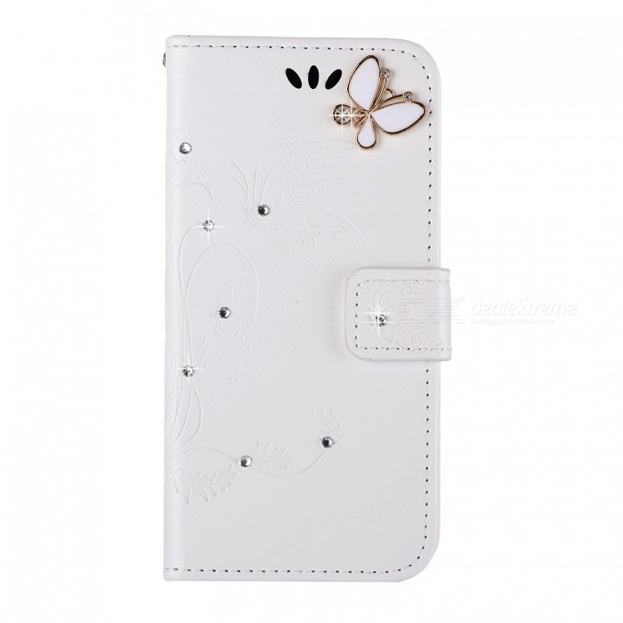 BLCR Butterfly Jewel Encrusted Wallet Case for IPHONE 6/6S - White