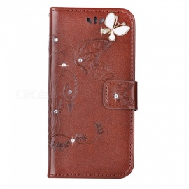 BLCR Butterfly Jewel Encrusted Wallet Case for IPHONE 6/6S- Dark Brown