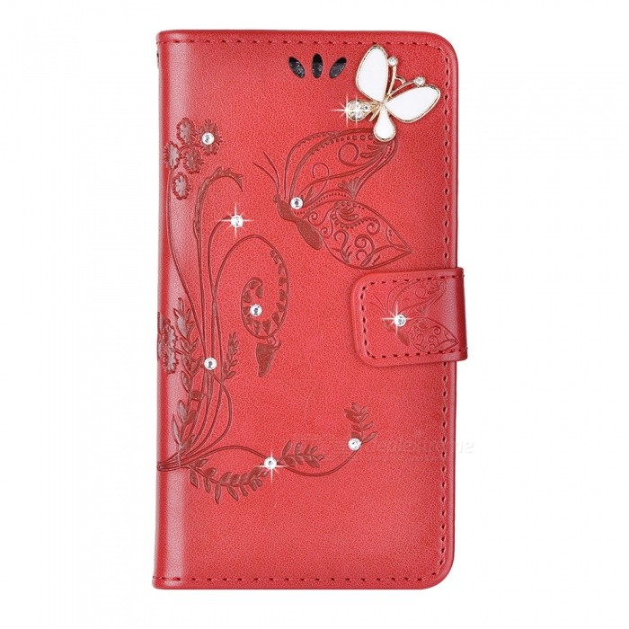 BLCR Butterfly Jewel Encrusted Wallet Case for IPHONE 6/6S - Red