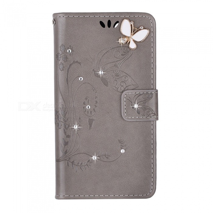 BLCR Butterfly Jewel Encrusted Wallet Case for IPHONE 6/6S - Grey