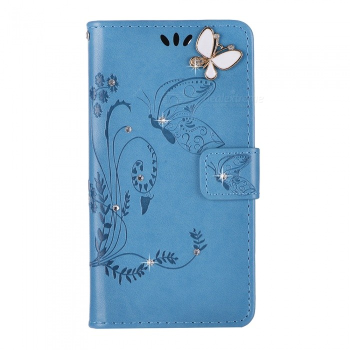 BLCR Butterfly Jewel Encrusted Wallet Case for IPHONE 6/6S - Blue