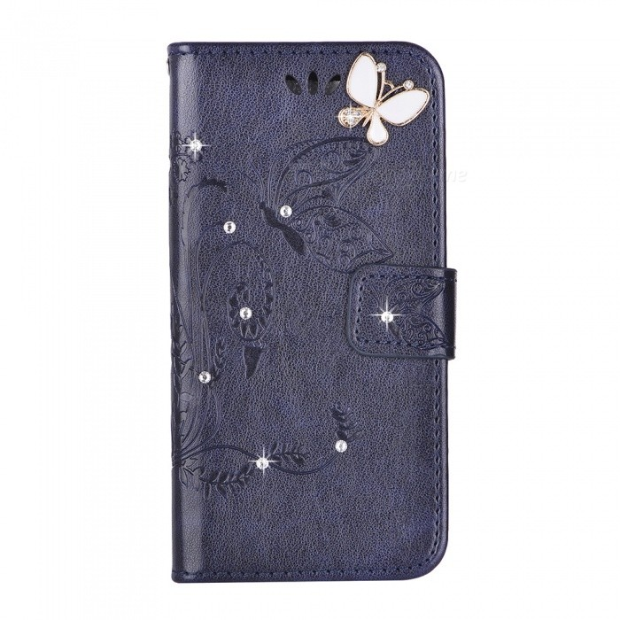 BLCR Butterfly Jewel Encrusted Wallet Case for IPHONE 6/6S - Deep Blue