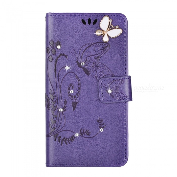 BLCR Butterfly Jewel Encrusted Wallet Case for IPHONE 6/6S - PurpleLeather Cases<br>Form ColorPurpleQuantity1 pieceMaterialPU + TPUCompatible ModelsIPHONE 6S,IPHONE 6StyleFlip OpenDesignJewel Encrusted,With Stand,Card SlotPacking List1 x Case<br>