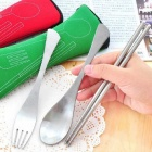Outdoor Stainless Steel Portable Tableware Set w/ Pouch - Silver