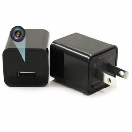 1080P HD Wireless 8GB Camera / US Plugs Adapter Socket Charger - Black