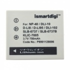 Ismartdigi FNP40 750mAh 3.7V Battery + Micro USB Charger for Fujifilm